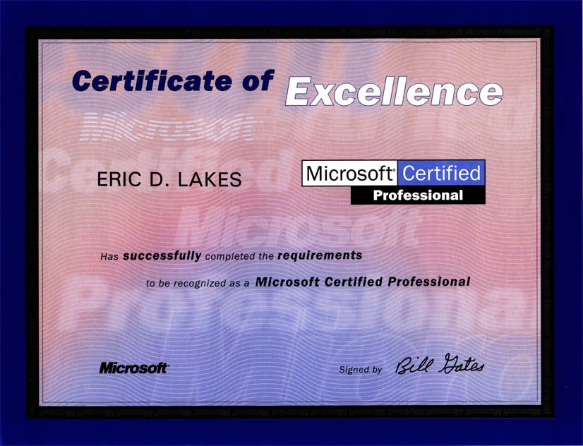 Fake Novelty Certificate Microsoft Professional Certificate Novelty